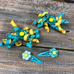 Gymboree Hair Accessory barrettes Blue Yellow Set